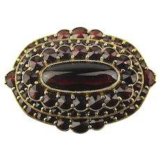 Vintage Ruby Red Garnet Pin - Vermeil on Sterling Silver Brooch