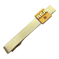 Vintage RCA Gold-Filled Tie Clip Clasp w/ 10K Gold Logo