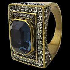 Vintage Heidi Daus Swarovski Crystal Cocktail Ring Size 9 Unworn
