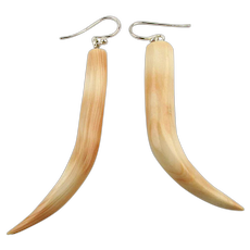 Vintage Handcarved Strombus Conch Shell Dangle Earrings Sterling Wires