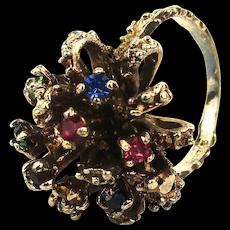 Sterling Silver Textured Ring w/ Burst of Crystal Rhinestones