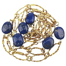 Long Gold Vermeil on Sterling Silver Chain Necklace w/ Lapis