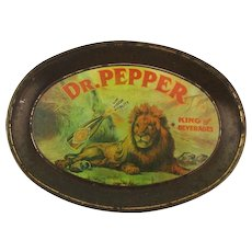 1979 Dr. Pepper Lion Art Tin Litho Advertising Tip Tray