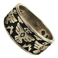 Signed Native American 925 Sterling Silver Ring 3 Thunderbird Eagles