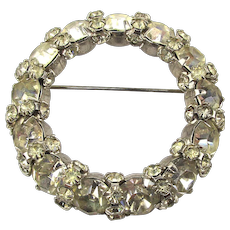 Signed Warner Ice Clear Crystal Pin Brooch