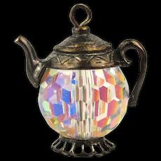 Miniature Sterling Silver Crystal Teapot Charm Pendant - Aurora Borealis