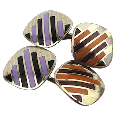 Art Deco Enamel on Chrome Cufflinks