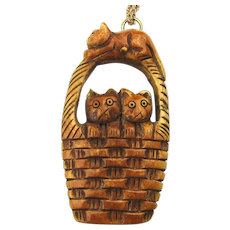 Hand-Carved Bone Cats in a Basket Pendant Necklace