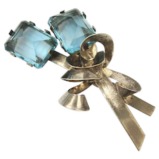 Big Gorgeous Art Deco Sterling Pin w/ Double Aqua Stones
