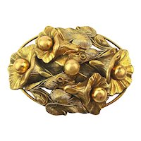Victorian Stamped Brass Pin - Bellflowers Brooch