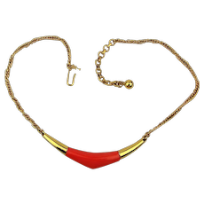 Modernist Trifari Necklace w/ Pop of Coral Enamel