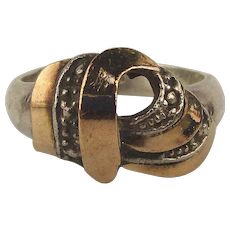 Mixed Metals Sterling Silver 18K Gold Ladies Ring