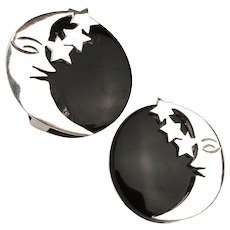 Taxco Mexican Sterling Silver Clip Earrings Moon Stars w/ Onyx