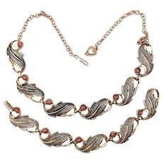 Vintage Necklace - Bracelet Set ~ w/ Fool's Gold Pyrite Stones