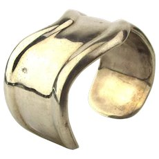 Taxco Mexican Sterling Silver Cuff Bracelet - Modernist Wave