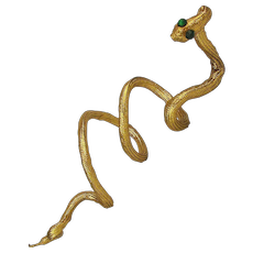 Long Gold Lamé Fabric Coiled Snake Arm Bracelet