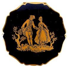 Vintage Stratton Enamel Compact w/ Romantic Couple