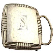 Vintage Signed NAPIER Sterling Silver Men's Buckle - Initial ~ S ~