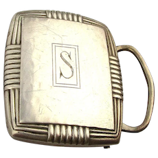 Vintage Signed NAPIER Sterling Silver Men's Buckle - Initial ~ S ~