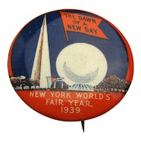 Original 1939-40 New York World's Fair Pin Trylon & Perisphere