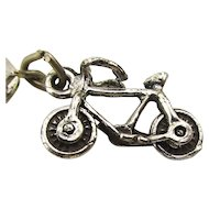 Maisel Sterling Silver Bicycle Bike Charm on Orig. Card c1930s