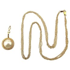14K Gold Triple Chain Necklace w/ Pearl Gold Pendant Enhancer