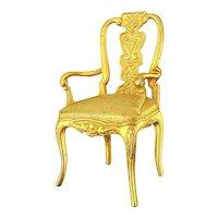 Vintage JJ Jonette Jewelry Gilded Chair Pin Figural Brooch