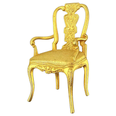 Vintage JJ Jonette Jewelry Gilded Chair Pin Figural Brooch