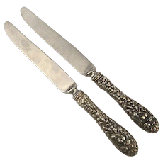 2 STIEFF ROSE Pattern Sterling Silver Handle Dinner Knife Knives