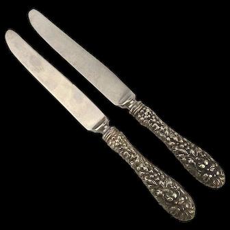 2 STIEFF ROSE Pattern Sterling Silver Handle Dinner Knife Knives