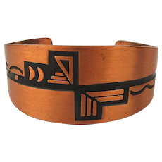 WM Wheeler Solid Copper Cuff Bracelet w/ Southwest Design