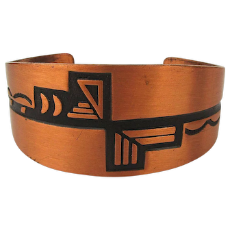 WM Wheeler Solid Copper Cuff Bracelet w/ Southwest Design