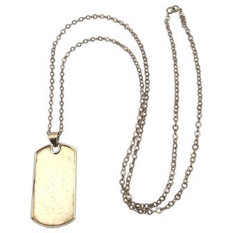 Vintage GUCCI Sterling Silver Dog Tag on Long 925 Chain