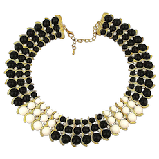 Majestic Beaded Collar Bib Necklace Gilt Waves w/ Rhinestones