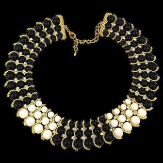 Majestic Beaded Collar Bib Necklace Gilt Waves w/ Rhinestones