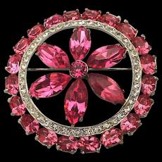 1950s Joseph Wiesner Pink Crystal Rhinestone Pin Brooch