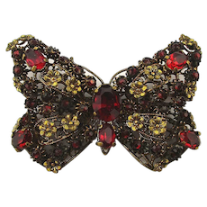 Old 1930s CZECHO Rhinestone Butterfly Pin Brooch
