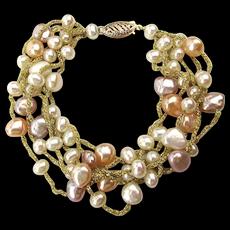 Multi Strand Freshwater Pearl Bracelet w/ 14k Gold Clasp