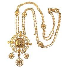 Vintage MONET Long Victorian Style Gilt Necklace w/ Woman