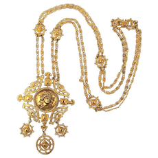 Vintage MONET Long Victorian Style Gilt Necklace w/ Woman