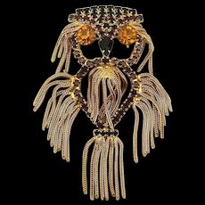 Wild Shaggy Owl Pin Pendant w/ Rhinestones Gilt Dangles