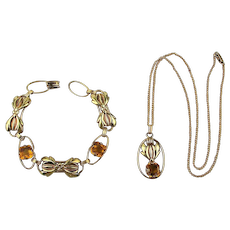 Art Deco Gold-Filled Bracelet - Necklace Set w/ Rhinestones