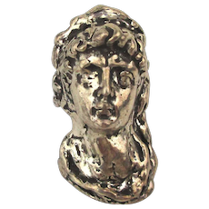 Heavy Sterling Silver Ring Victorian Style Woman's Head