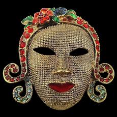 Vintage Rhinestone FACE Mask Pin Art Deco Style