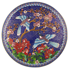 1991 Chinese Cloisonne Enamel Collector's Plate Winged Jewels Ching-T'ai-lan Artists Workshop