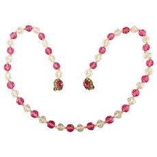 1950s Judith McCann Crystal Necklace Bracelet w/ Creative Shuvon Clasp
