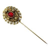 Vintage Jeweled Stickpin Hat Pin - Red Glass w/ Teeny Pearls