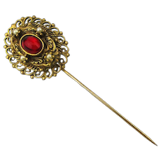 Vintage Jeweled Stickpin Hat Pin - Red Glass w/ Teeny Pearls