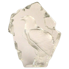 1984 Crystal Glass Eagle Sculpture by Mats Jonasson Sweden Signed & Numbered
