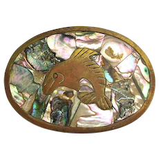 Old Brass Mexican Belt Buckle - Abalone Shell Inlay w/ Jumping Fish